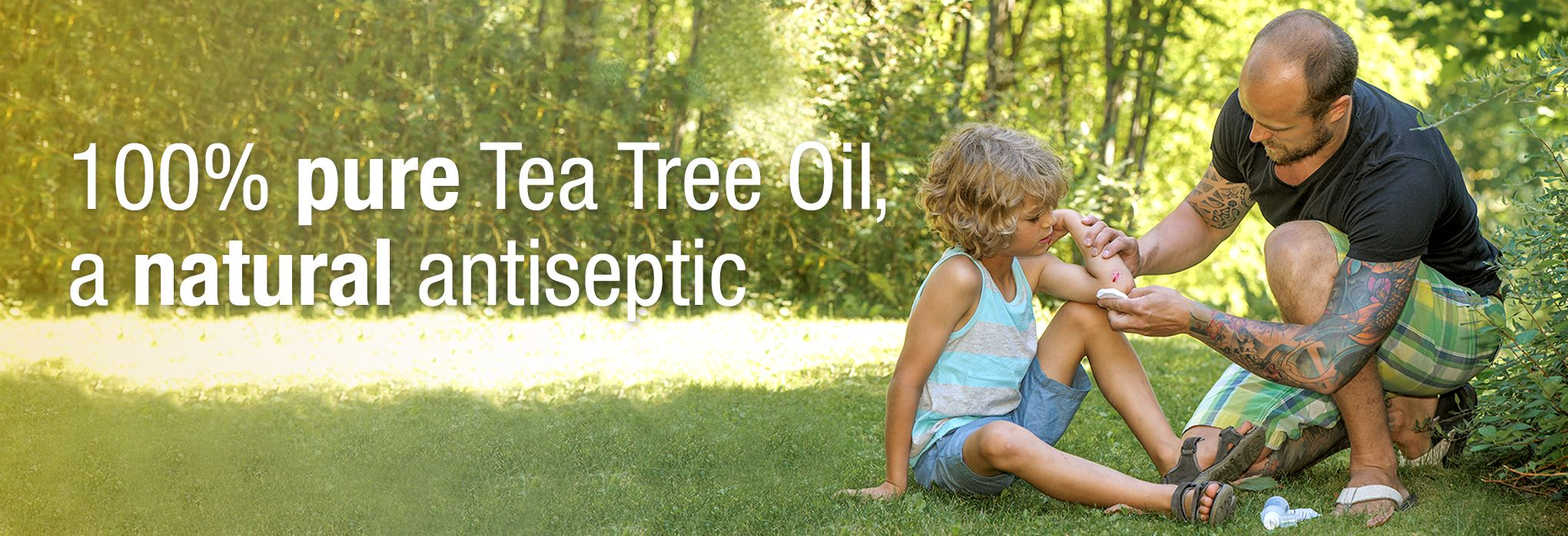 100% pure tea tree oil, a natural antiseptic